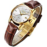 Business Leather Women Watches-OLEVS Ladies Dress Analog Quartz Date Classic Luminous White Dial Brown Leather Strap 3ATM Waterproof Female Wrist Watch