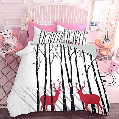 Bedding Cover Set 3pcs Deer Tree Forest with Red Holiday Theme Flying Leaves Branch Reindeer (3pcs, King Size) Ultra Soft Microfiber Bedroom Duvet Cover