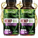 (2 Pack) Hemp Oil Extract (80,000MG) for Pain Relief | Grown & Made in USA | Relieves Sleep Issues, Anxiety, Inflammation, Brain Health | Omega 3, 6, 9 for Better Skin, Hair & Nails | 2 Months Supply