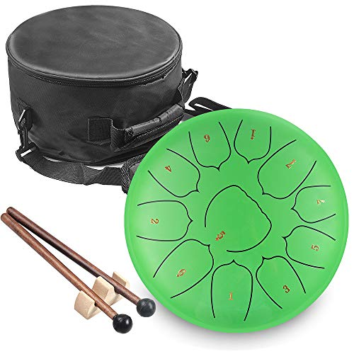 KUDOUT Tambor de Lengüetas,C/D Chiave 10 PulgadasTongue Drum,11 Notas Percusión Tambor de la Lengua con Bolsa de Viaje Acolchada, par de mazos,púas de Dedo