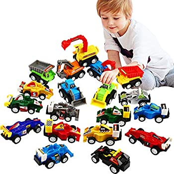 Pull Back Car 20 Pcs Assorted Mini Truck Toy and Race Car Toy Kit Set Funcorn Toys Play Construction Vehicle Playset Educational Preschool for Kids Children Party Favors Birthday Game Supplies
