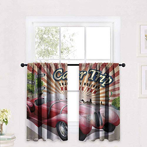 ScottDecor Cars Kitchen Curtains Car Trip Theme Old Fashioned Automobile Enjoy Holiday Fun Retro Travel Composition 30 x 36 inch Half Window Covering Tier Curtains