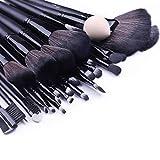 Ensemble de pinceaux de maquillage Glow Black - Ensemble de 32 pièces pour le maquillage du visage et des yeux avec nettoyant/récureur de pinceaux de maquillage - Couleur noire