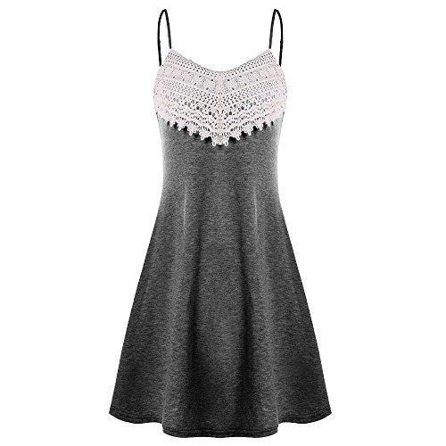 ESAILQ Mode Frauen Häkelspitze Backless Mini Slip Kleid Leibchen Ärmelloses Kleid (X-Large, Tief grau)
