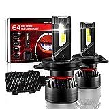 XENPLUS H4 Hi/Lo LEDヘッドライト、+ 500%超高輝度G-XPチップ 90W (45W*2) 20000LM H4/9003/HB2 新基準車検対応 搭載 ダブルボールベアリングファン 6000K ホワイト 2年保証(2個パック)