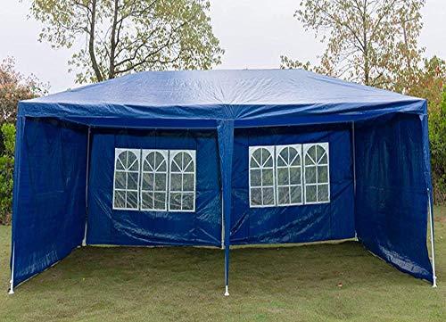 Carpa exterior Impermeables Refugios solares Impermeable Gazebo resistente Fiesta al aire libre Boda Evento Tienda de refugio con 4 paredes laterales extraíbles-3x3m (4 paneles laterales azules)