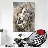 JLFDHR Picasso Girl with A Mandolin Canvas Posters Prints Arte De La Pared Pintura Al Óleo Imagen Decorativa Sala De Estar Decoración del Hogar-50X70Cmx1 Sin Marco