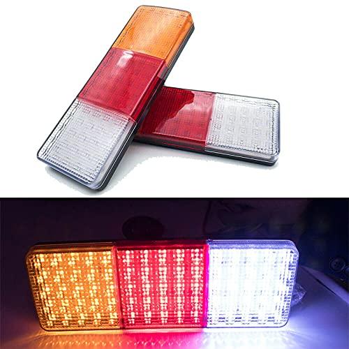 jeerbly Bombilla LED para camión de 12 V, remolque, caravana, 12 V-75 LED, 2 unidades, luces traseras traseras LED