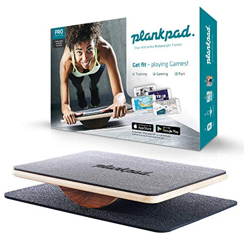 plankpad Full Body Fitness Trainer with Training App for iOS and Android - Innovative Balance Board from Shark Tank TV Show in Black/Walnut
