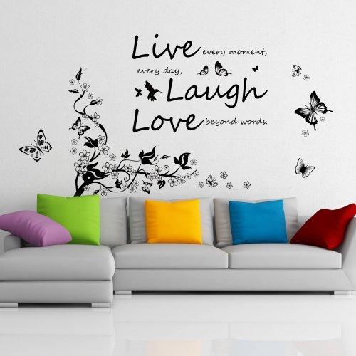 COM-Butt Vine + Vivid Live Laugh, Adhesivo mural despegable de vinilo de arte de calcomanías murales, mariposas bailando y ramas de árbol, además del mensaje llamativo Live Laugh Love (Vive, Ríe, Ama), color mezclado