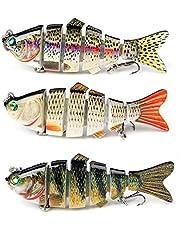 Set van 3 Kunstaas, Zinkend Kunstaas Bass Fishing Lures, Multi Jointed Topwater Swimbait Kunstmatig aas Segmenteer Swimbaits Visset voor Forel Baars (95 mm, 21 g)