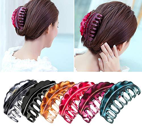 Bevalsa 6 Stück 9.5cm Kunststoff Große Haar Klaue Klammer Damen Klaue Clips Haarspangen Haargreifer Vintage Einfache Unregelmäßige Rutschfeste Haarnadel Haar Zubehör Für Frauen