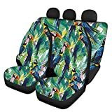 Dreaweet Green Parrots Car Seat Covers Set, Universal Fit Ultra-Soft Comfort Rear and Front Seat Cushion for Women Men Tropical Style 4 Pack Full Set Auto Seats Cushion Protector
