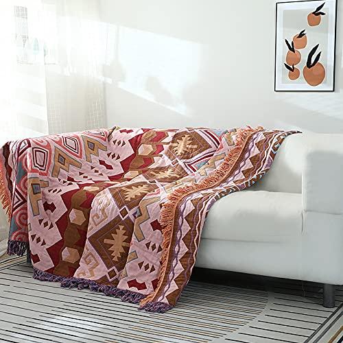 Mantas para Sofa Toalla Funda de Sofá Cubierta de Cuatro Estaciones Toalla de Tela Estilo Nórdico Cojín de Sofá Manta de Sofá Patrón de Colores 230x250cm,Pink-230 * 250cm