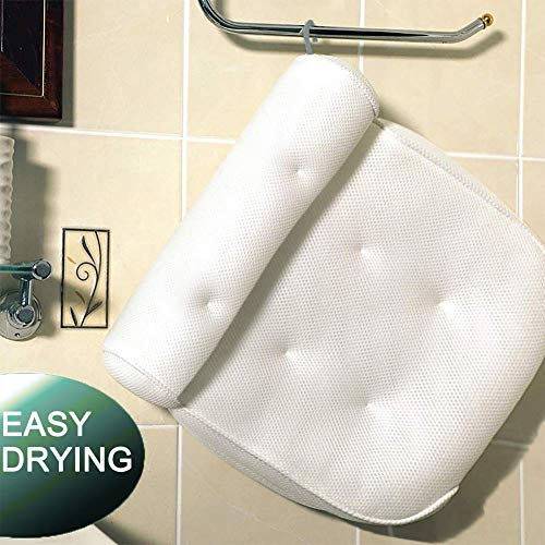 Idle Hippo Bath Pillow Bathtub Pillow with 6 Upgraded Non-Slip Suction Cups, Extra Thick Spa Bathtub...