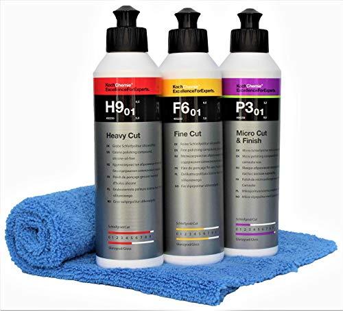Koch Chemie Polierset Set Heavy Cut H9.01 250 ml Schleifpolitur + Feinschleifpaste F6.01 + P3.02 Micro & Finish mit Master Carline Mikrofasertuch (Rot Gelb Grün)