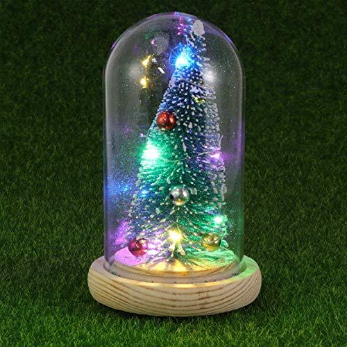 ZSML Lámpara de Mesa de árbol de Navidad Lámpara de Mesa de Noche con cúpula de Vidrio LED Campana con árbol de Navidad en Base de Madera para Navidad Decoración de Fiesta de Regalo de año Nuevo