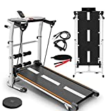 Yirise Treadmills for Home, Walking Treadmill, 4 in 1 Folding Shock Running Supine T-Wisting Draw Rope 4-in-1 Mechanical Treadmills Home Gym Workout Fitness Running Machine Easy to Install