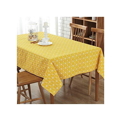 Cheryl Norri Leinen Tischdecke Druck Multi-Funktions-Stil Tischdecke Rechteckige Tischdecke Geschirr Küche Dekoration, Gelb, 140 * 140 cm