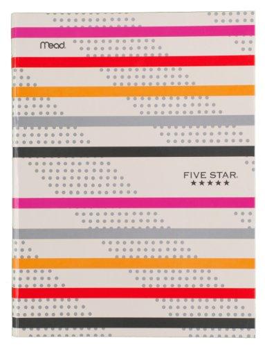 "Five Star Composition Book / Notebook, College Ruled Paper, 100 Sheets, 9-7/8"" x 7-1/2"", Hardbound, Orange/Pink Stripe (72830)"