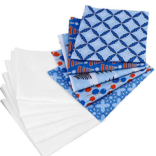 Konsait 10 Pieces Christmas Cotton Fabric, Quilting Fabric Assortments Precut Cotton Fabric Bundles, Blue Christmas Theme Pure White Linning Sewing Patchwork DIY Craft for Christmas Party Supplies