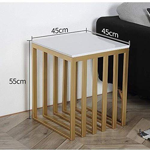 Mejoras para el hogar Diseño de Muebles Europa Mesa Auxiliar de mármol Mesa de Centro Mesa Auxiliar Lateral Mesa de sofá Mesa de Esquina Mesa de salón Dorada Mesa de Centro de Hierro Hierro Mesita