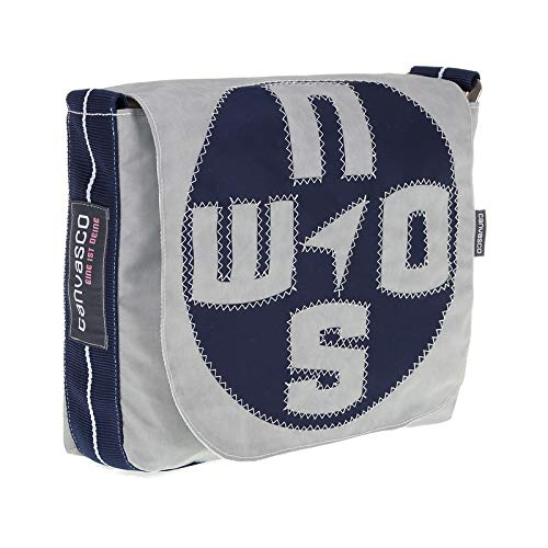 Messenger Bag CANVASCO Mini/Tasche grau/Gurt blau-weiß/Motiv Kompass blau