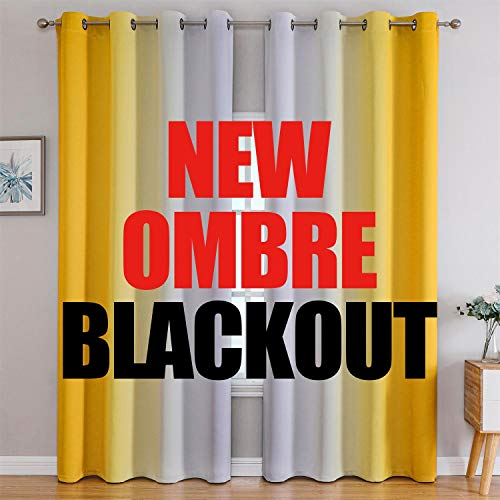 G2000 Blackout Curtains & Drapes for Bedroom Living Room 84 Inches Long Yellow and Greyish White Room Darkening Window Treatments Ombre Thermal Insulated Light Blocking Grommet Backdrop 2 Panels Set