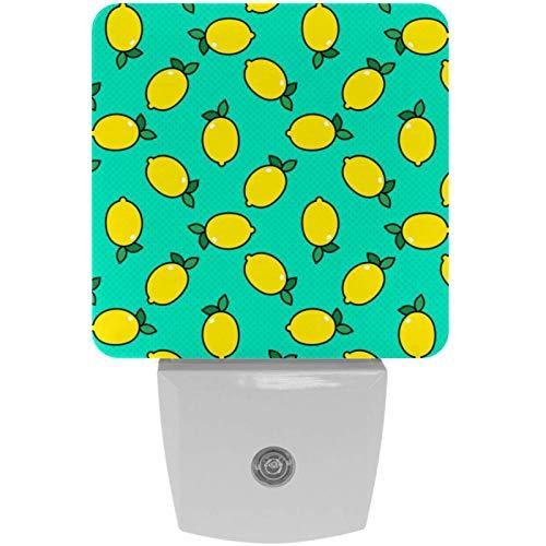 Lemon Pop Art - Lámpara LED de noche con diseño de fondo para niños, con sensor de movimiento automático del atardecer al amanecer, apto para dormitorio, baño, escaleras, cocina, pasillo
