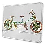 Buntes Tandem-Fahrraddesign des künstlerischen Mauspads des Fahrrads auf weißem Hintergrundmuster Clipart-Art drucken Mauspad für Männer lustige Mehrfarben