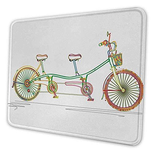 Bicycle Artistic Mouse Pad Buntes Tandem-Fahrrad-Design auf weißem Hintergrundmuster Clipart Style Print Mouse Pad für Männer Funny Multicolor