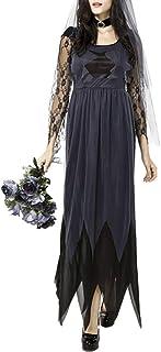 Abito da Donna A Maniche Lunghe Irregolare Nero Horror Ghost Bride Abiti Cosplay Abito di Pizzo di Halloween La
