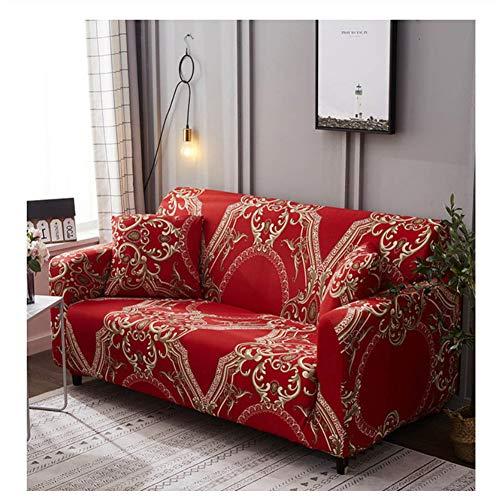 Wjwzl Nordic stijl, rekbare bankovertrek, afneembaar en wasbaar, rode druk, geschikt voor de meeste banken