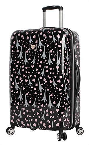 Betsey Johnson 26 Inch Checked Luggage Collection - Expandable Scratch Resistant (ABS + PC) Hardside Suitcase - Designer Lightweight Bag with 8-Rolling Spinner Wheels (Paris Love)