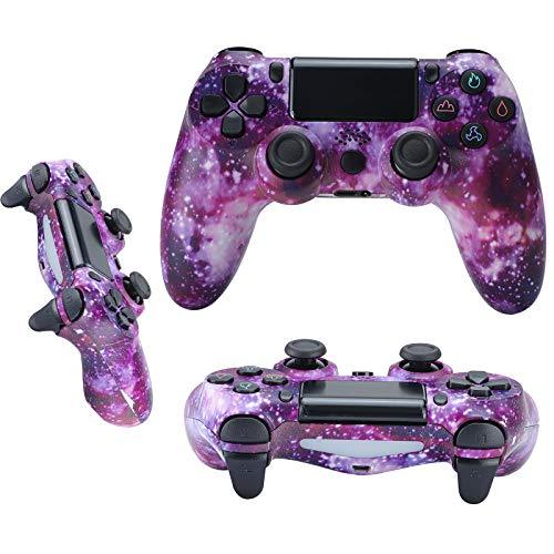 QLOVE Mando Inalámbrico para PS4, Gamepad Wireless Bluetooth Controlador Controller Joystick con Vibración Doble Remoto/6-Axis Gyro/Turbo/Panel táctil, Mando para PS4/PS3/ PC,Purple Starry Sky