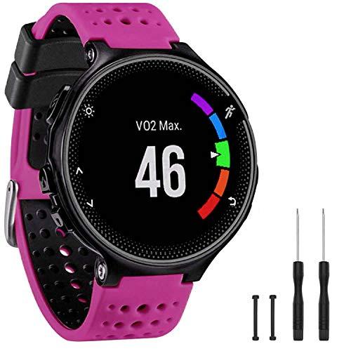 GVangel Band Compatibile con Garmin Forerunner 235, Cinturino di Ricambio in Morbido Silicone per Smart Watch 220/230/235/620/630/735XT/235 Lite, Unisex, Rosa-Nero