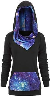 Lulupi Fepla Donna con Cappuccio Tumblr Maglione Natalizio Donna Lungo Elk Galaxy Print Giacca Elegante Donna Taglie Forti...