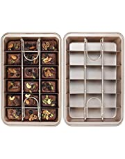 ShowTop Non Stick Brownie Pan,With Partition,Chunked Brownie Pan,Slicing Solution Baking Pan,Pan With Built-In Slicer Dividers 18 Pre-cut Brownies All at Once