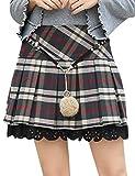 Emma - Falda Plisada para Mujer con Estampado de Cuadros, Cintura Alta, elástica, Estilo Escolar (con Bonita Cadena en la Cintura)