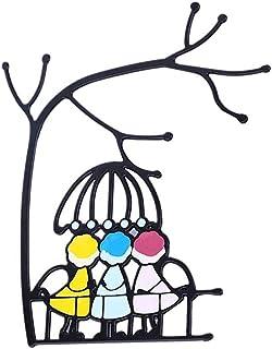 Kidnefn Décoration de fenêtre d'art en alliage de Zinc Dessin animé Couple/pendentif Familial pour Salon et Chambre à Couc...