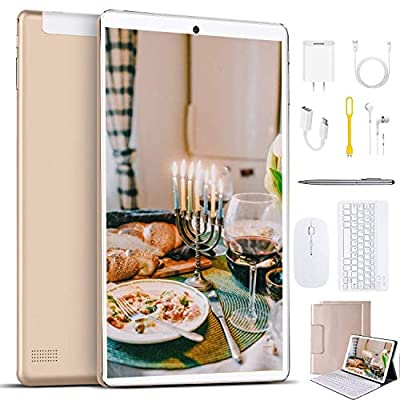 High Performance 2 in 1 Tablets, 10 inch Tablet PC, with Keyboard Mouse, Google GMS Certified, 3GB RAM 64GB Storage, 4G WiFi, Android 9.0 Quad-Core Processor, 8000 mAh, FM, GPS, Bluetooth, OTG (Gold)