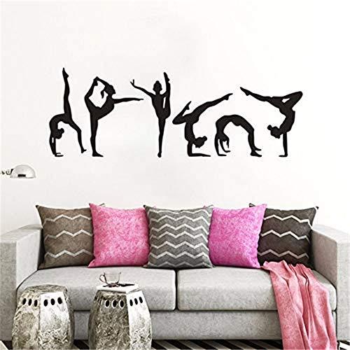 wandaufkleber familie Gymnastics Girls Wall Sticker Sport Vinyl Wall Decal Gymnastics Silhouette Wall Poster Home Deocoration Girls Room Mural