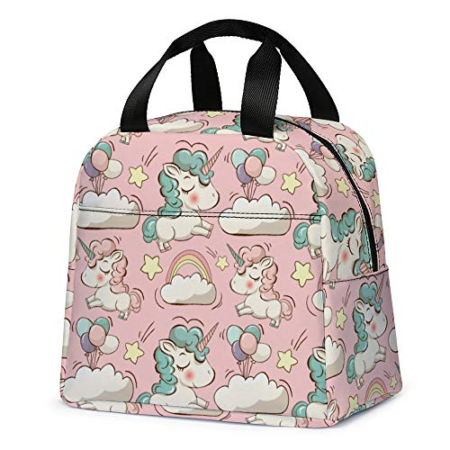 Unicorn Lunch Bag for Girls, Reusable Cute Unicorn Lunch Box Insulated Lunch Tote Bag with Front Pocket for School Kids Teen Girls (Pink)