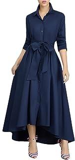 فستان طويل فضفاض باكمام طويلة وازرار على القبة بجيوب واحزمة للنساء من فيروين