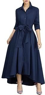 Women Elegant Long Maxi Dress Button Down Collar Belt T Shirt Dresses Pockets