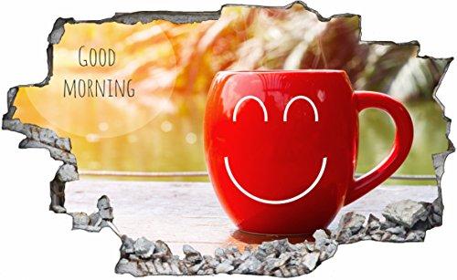 DesFoli Tasse Kaffee 3D Look Wandtattoo 70 x 115 cm Wanddurchbruch Wandbild Sticker Aufkleber C519