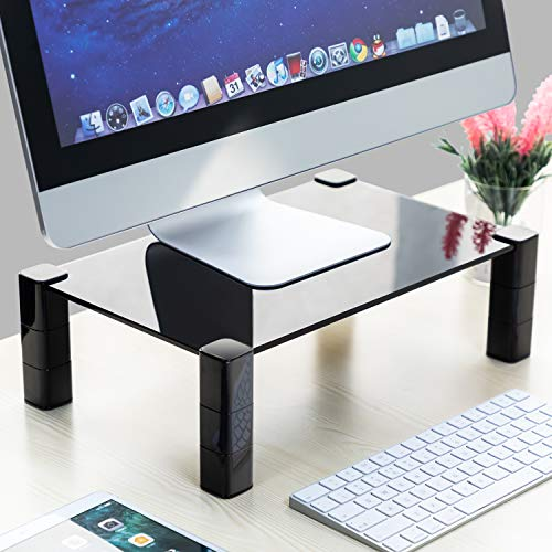 HUANUO Adjustable Monitor Stand - 3 Height Adjustable Glass Monitor Riser, with Extra Storage Space for PC Monitors, Computer & Laptop, with 14.8 x 9.5 Inch Black Tempered Platform