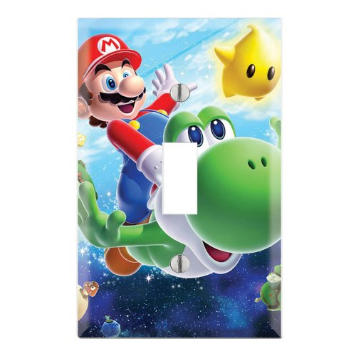 Single Toggle Wall Switch Cover Plate Decor Wallplate - Super Mario Galaxy Yoshi