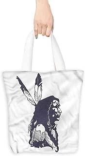 Handbag or crossbody messenger bag,Tribal Native American Man Portrait,Canvas Grocery Shopping Bags,16.5
