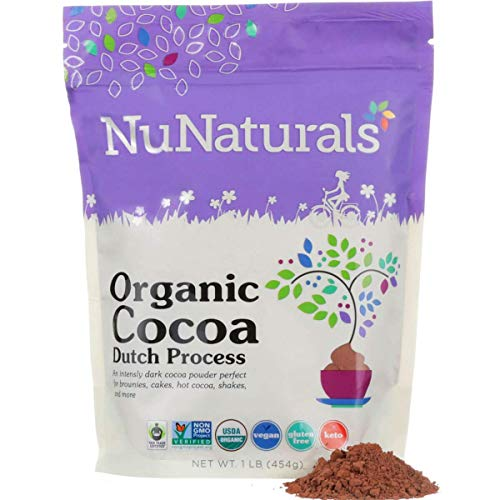 NuNaturals Premium Organic Dutch Processed Cocoa Powder for Baking, Non-GMO, Fair Trade Cocoa 76 Servings